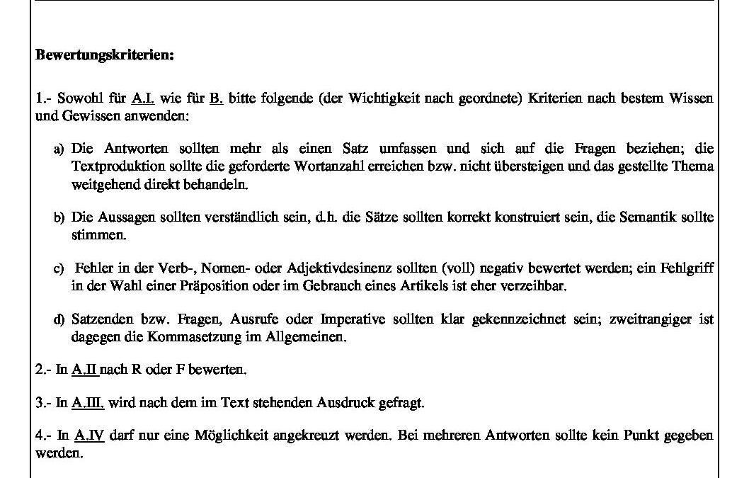 Alemán – criterios
