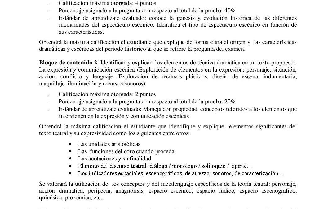 Artes escénicas – criterios