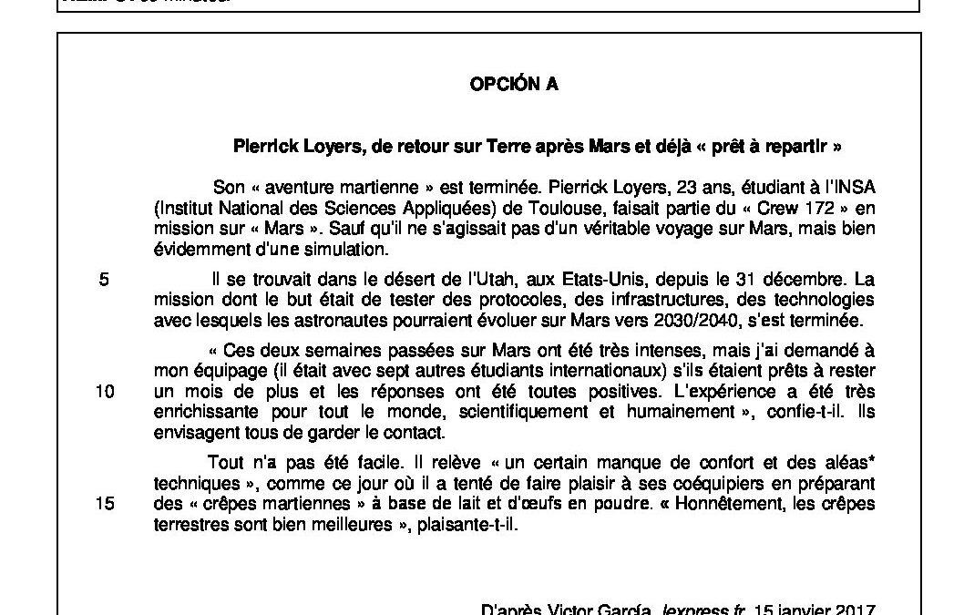 Francés – modelo criterios y solución