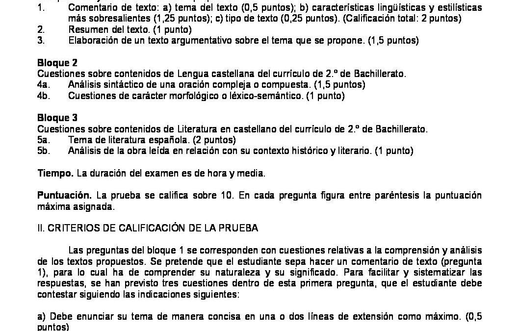 Lengua castellana y literatura – criterios