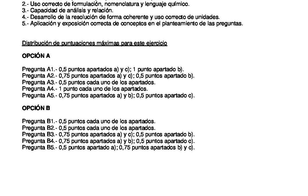 Química – criterios