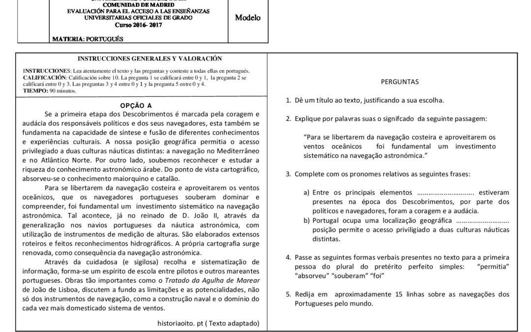 Portugués – modelo criterios y solución